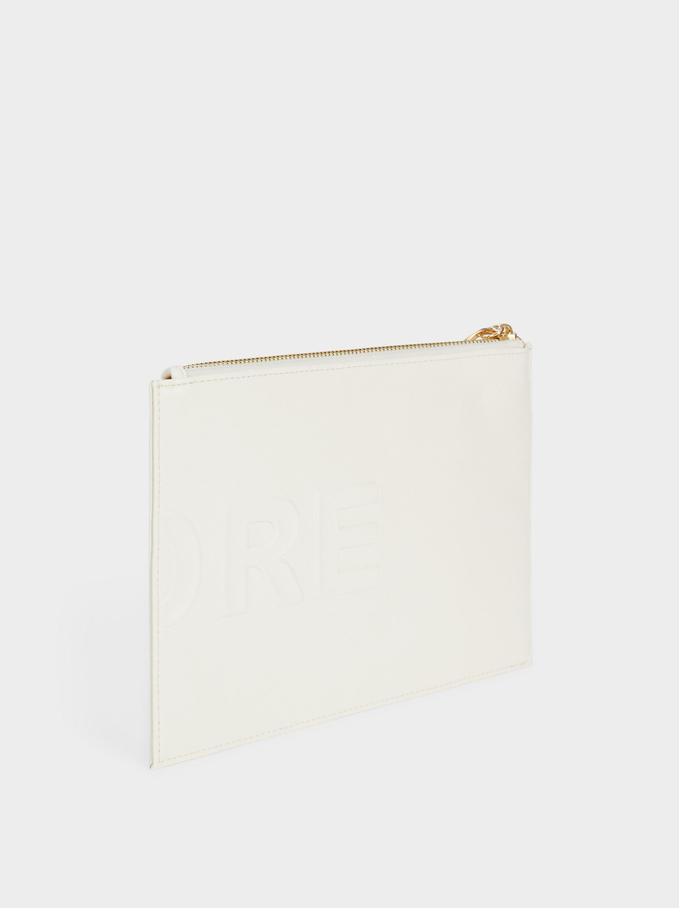 Multi-Purpose Plain Purse With Zip Closure, White, hi-res
