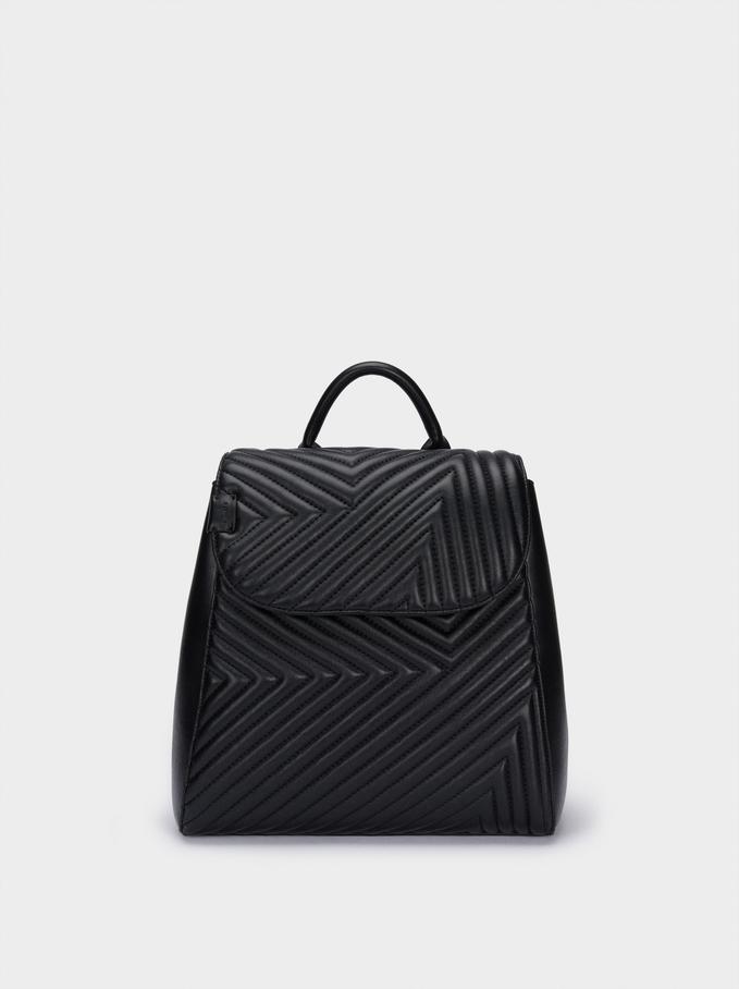 Plecak Z Pikowanej Tkaniny Z Zapinana Klapa, Czarny, hi-res