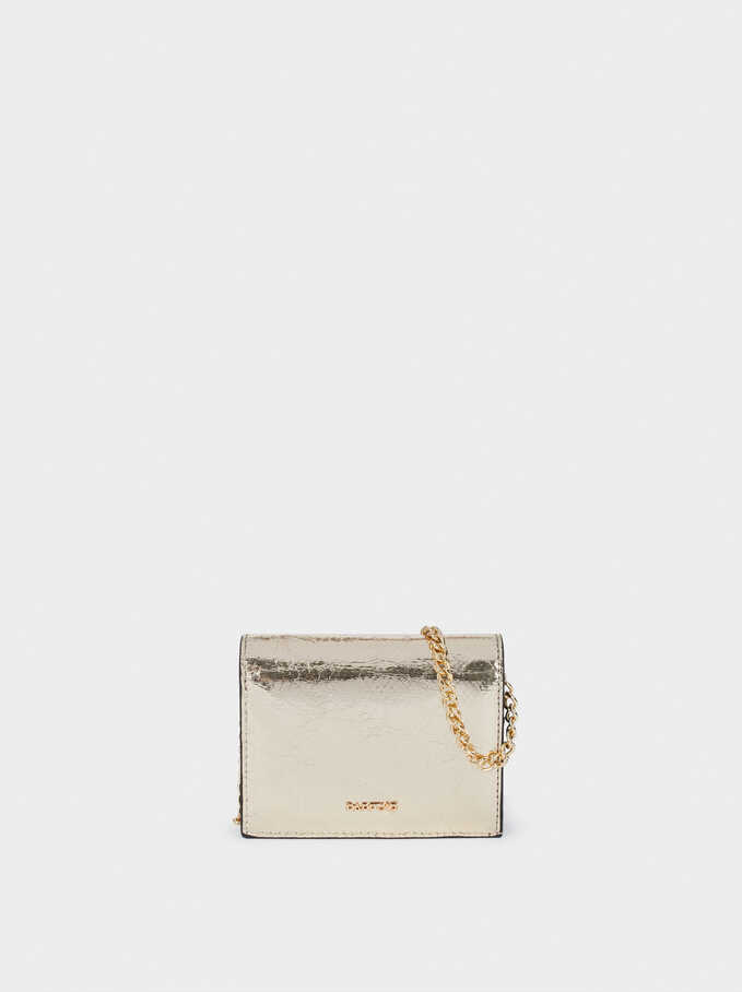 Metallic Multi-Purpose Bag With Chain Strap, Golden, hi-res