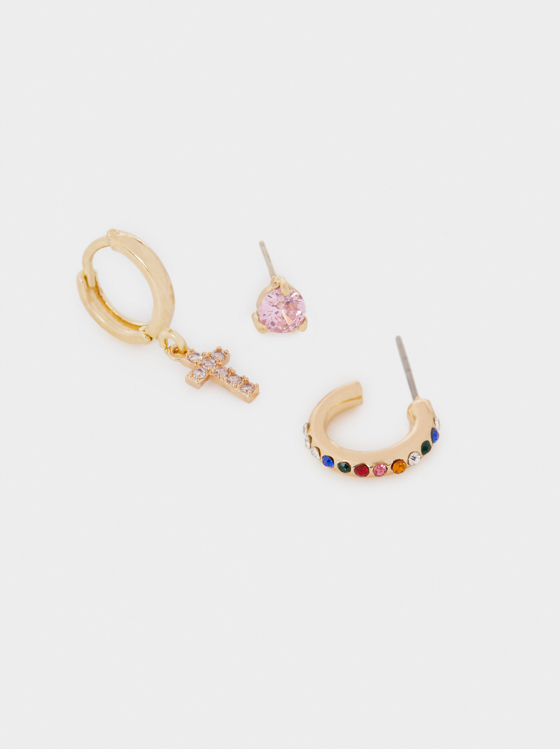 Gold Earring Set, Golden, hi-res