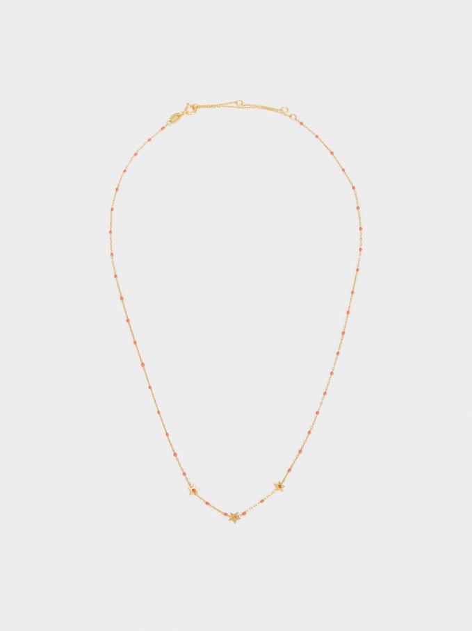 Collar Corto De Plata 925 Estrellas, Coral, hi-res