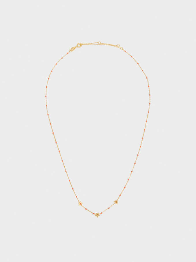 Short Silver 925 Necklace With Stars, Coral, hi-res