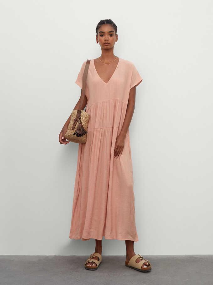Long V-Neck Dress, Pink, hi-res