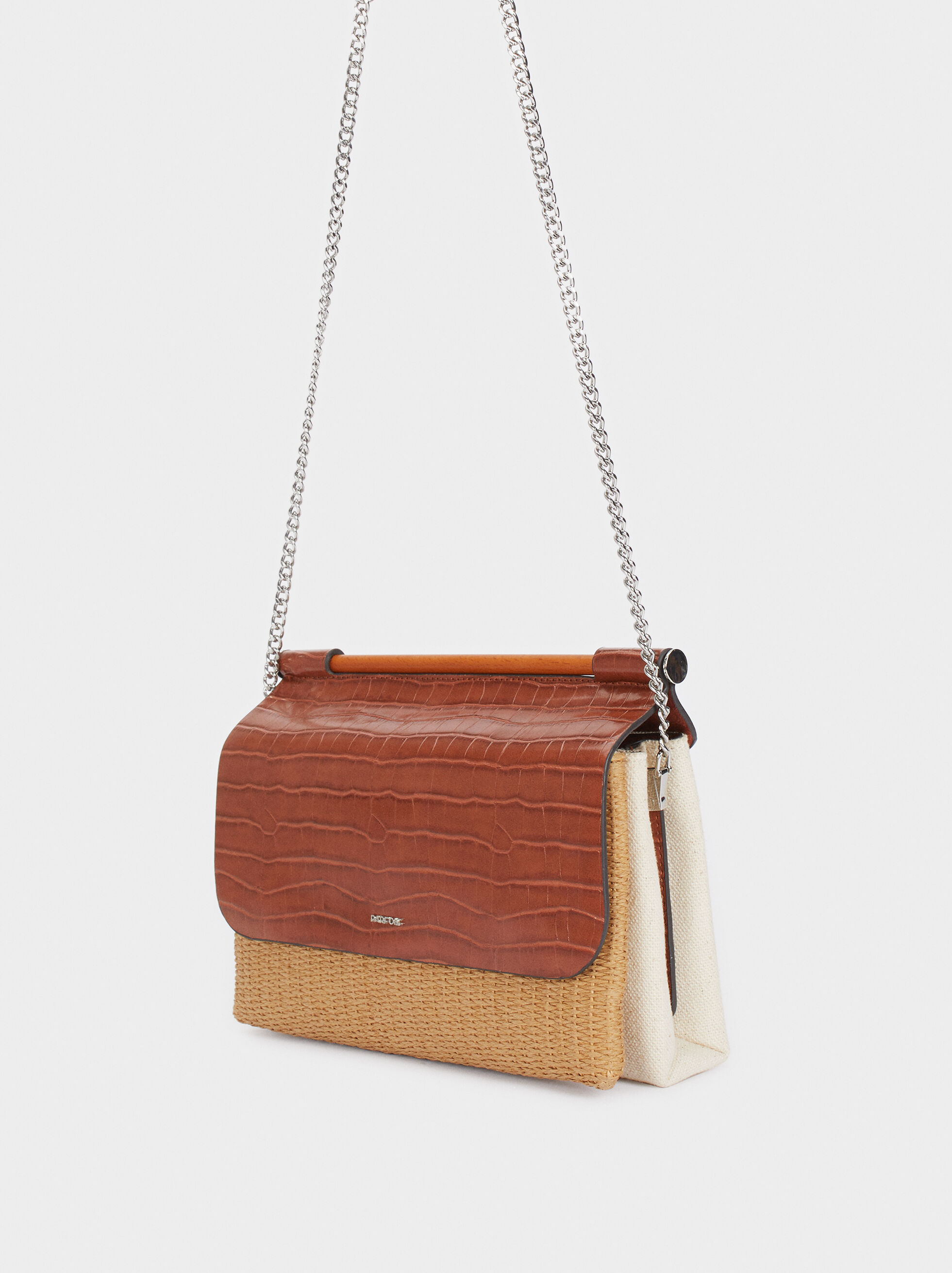 Contrast Crossbody Bag With Chain Strap, Camel, hi-res