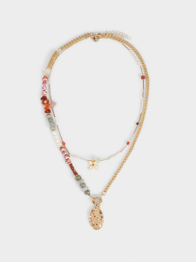 Set Of Contrasting Necklaces With Beads, Multicolor, hi-res