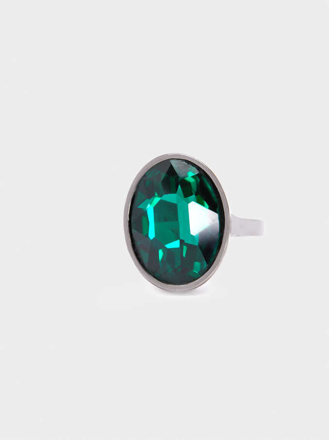 Signet Ring With Crystal, Green, hi-res