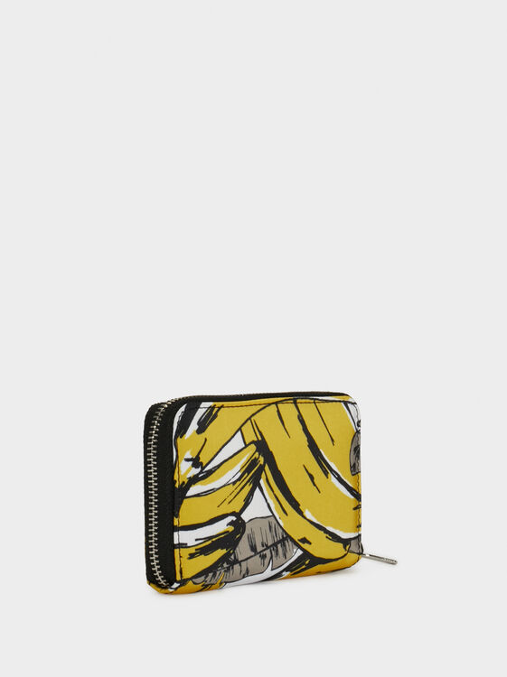 Small Printed Nylon Purse, Yellow, hi-res