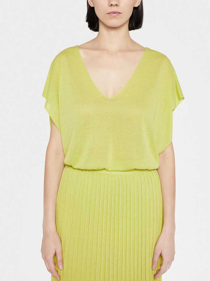 Plain Long T-Shirt, Yellow, hi-res