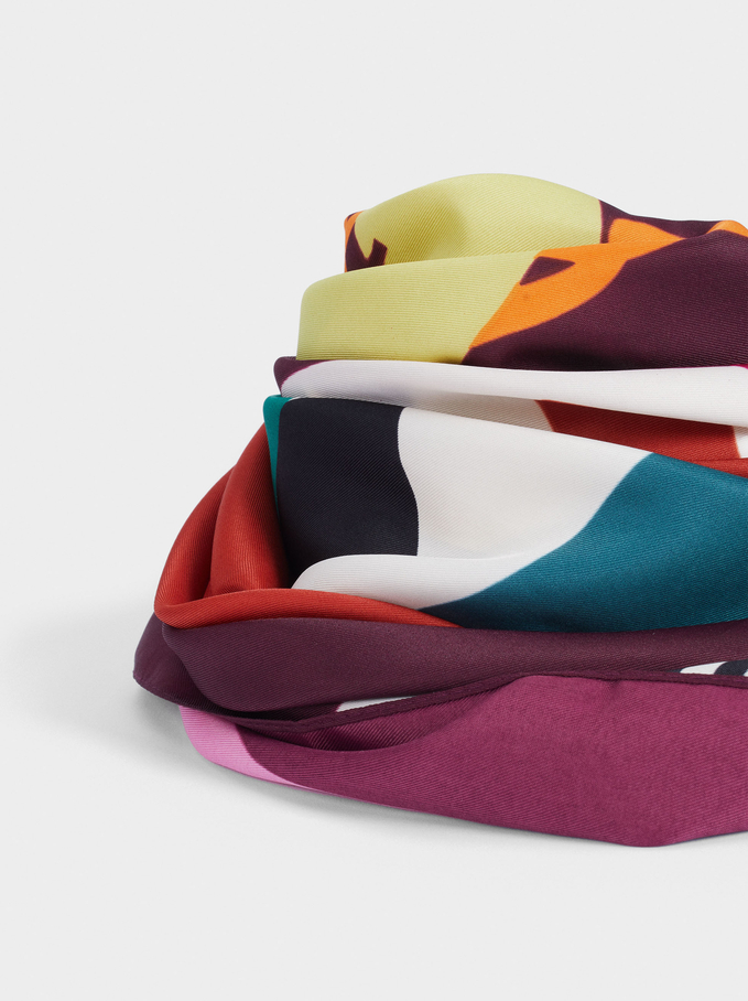 Printed Square Neckerchief Made From Recycled Materials, Bordeaux, hi-res