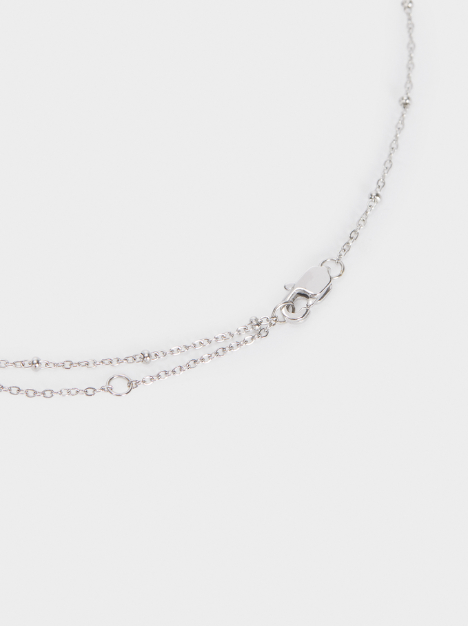Short Stainless Steel Necklace With Shamrock, Silver, hi-res