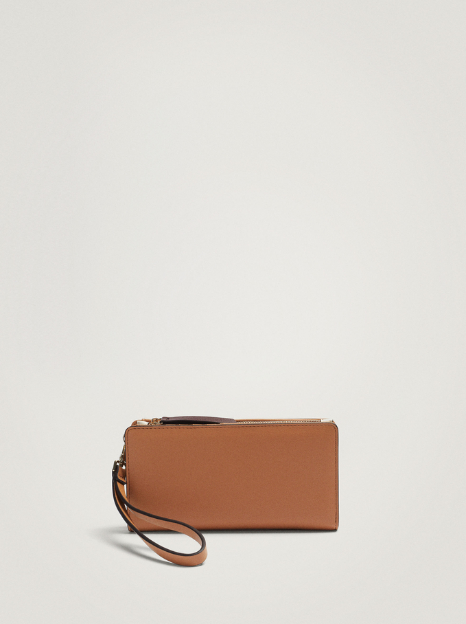 Embossed Wallet With Handle, Camel, hi-res
