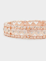 Pink Desert Elastic Bracelet With Beading, Orange, hi-res