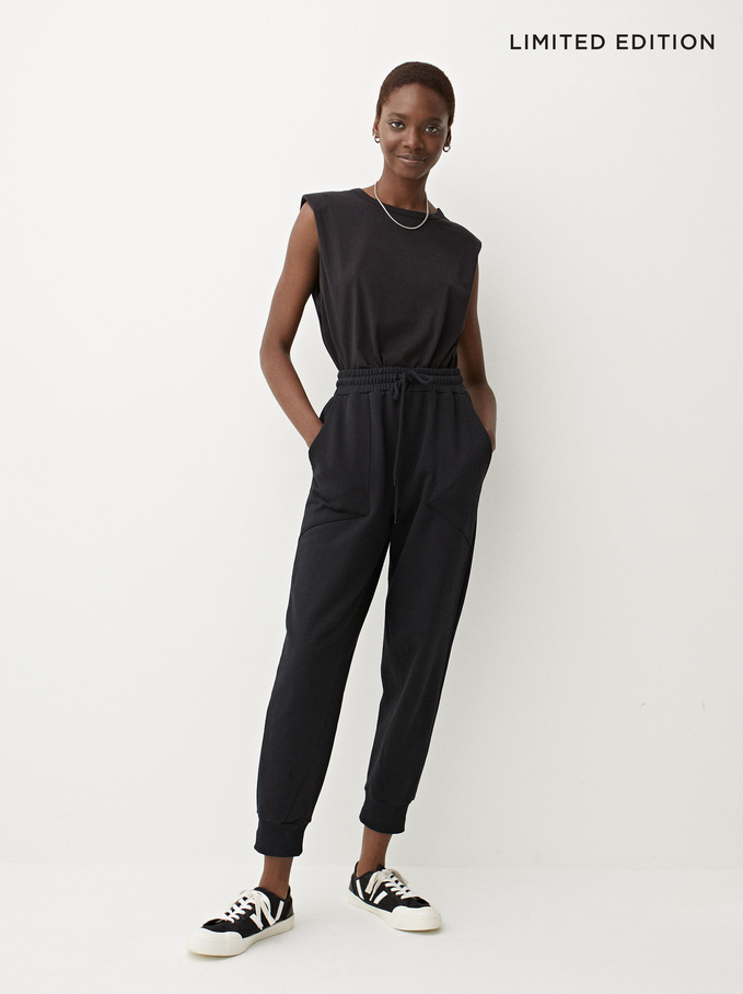 Limited Edition Cotton Jogger-Style Trousers, Black, hi-res