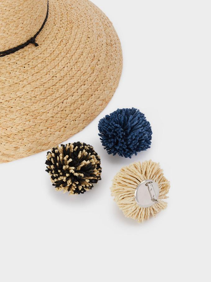 Braided Hat With Pompoms, Ecru, hi-res