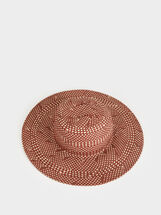 Faux Raffia Hat, Red, hi-res