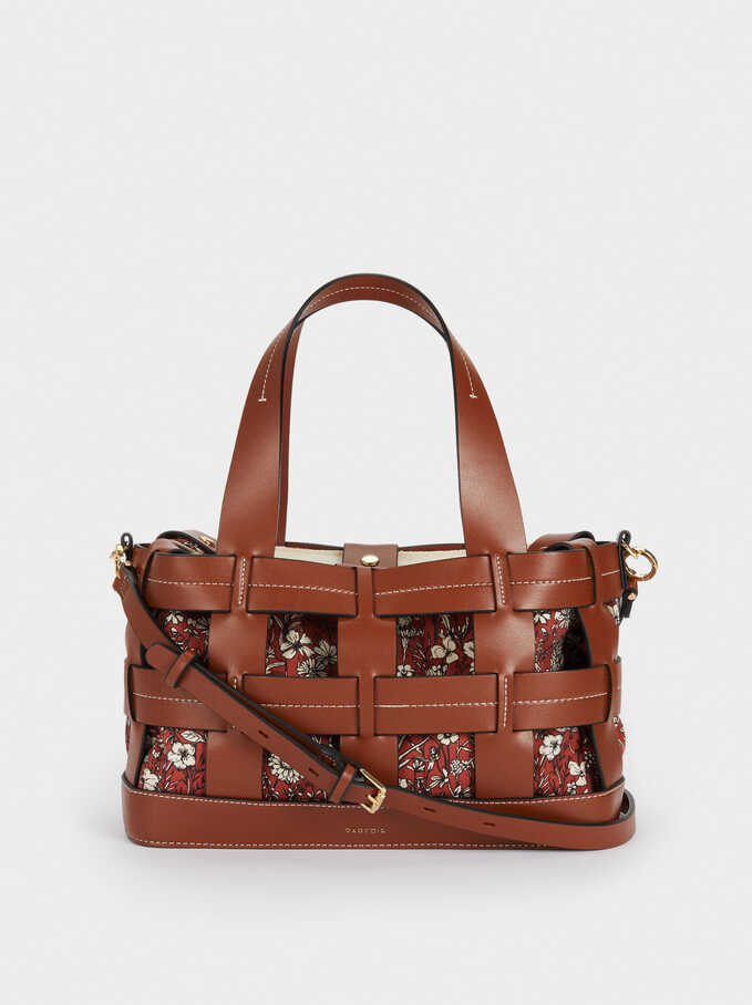 Interlaced Bag With Removable Interior, Camel, hi-res
