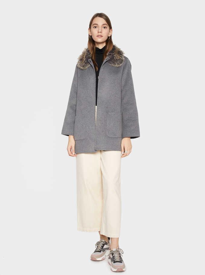 Jacket With Faux Fur Collar, Grey, hi-res