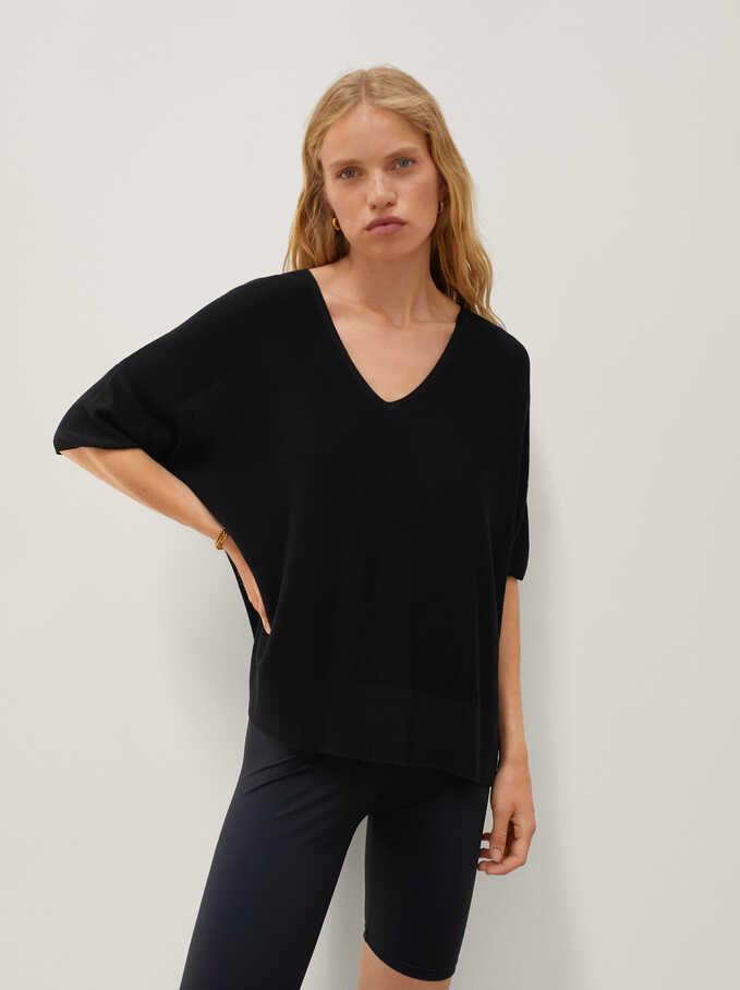 Reversible Knitted V-Neck Sweater, Black, hi-res