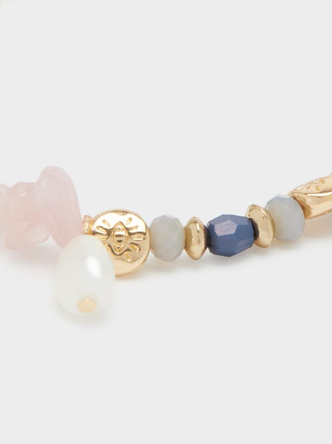 Elasticated Bracelet With Multicolour Stones, Golden, hi-res