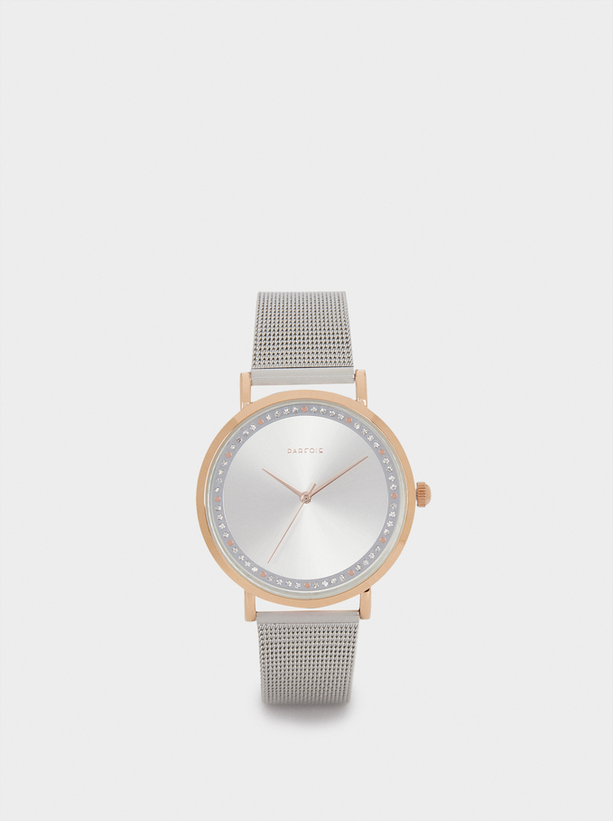 Watch With Metal Mesh Strap And Round Face, Silver, hi-res