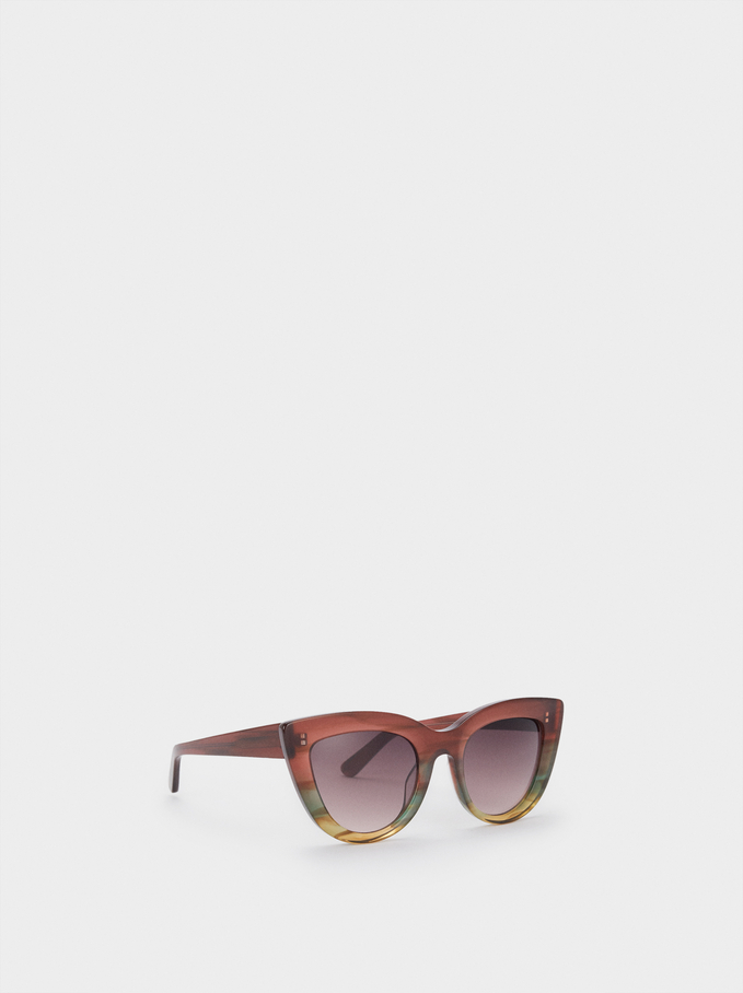 Okulary Przeciwsloneczne Typu Cat Eye Z Rogowa Oprawka, Wielokolorowy, hi-res