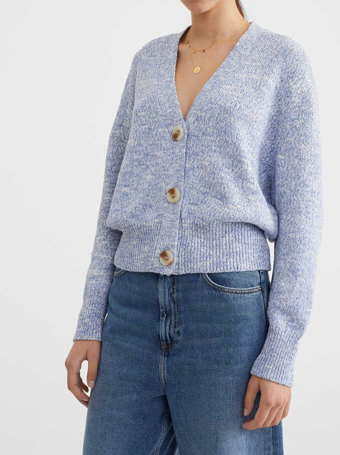 Mottled Knit Cardigan, Blue, hi-res