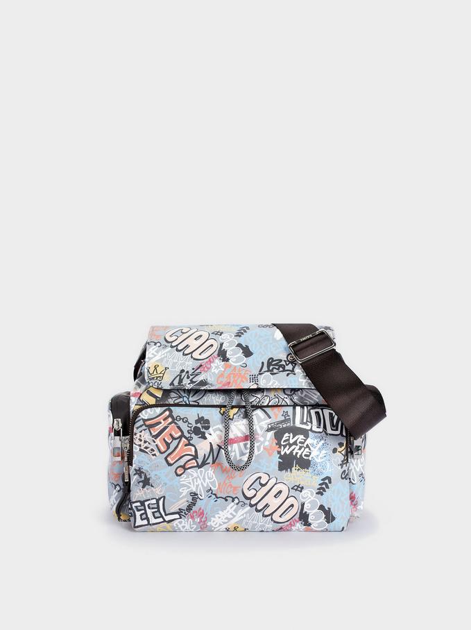 Printed Nylon Crossbody Bag, Grey, hi-res