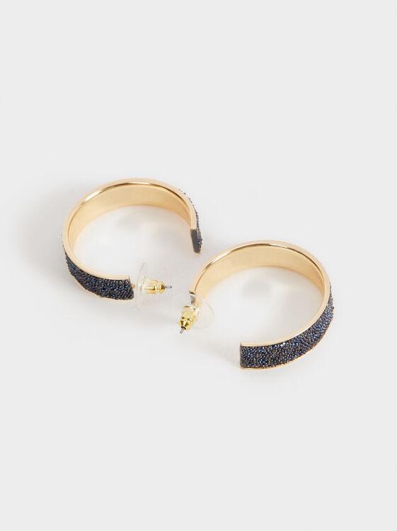 Savage Sparkle Medium Hoop Earrings, Blue, hi-res
