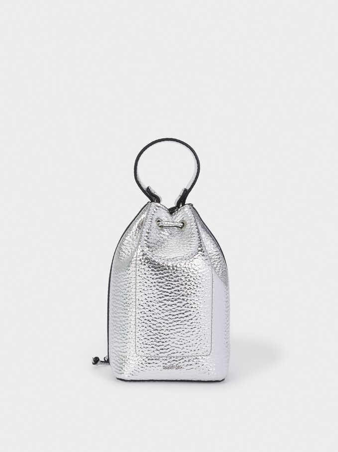 Chain Handle Bucket Bag, Silver, hi-res