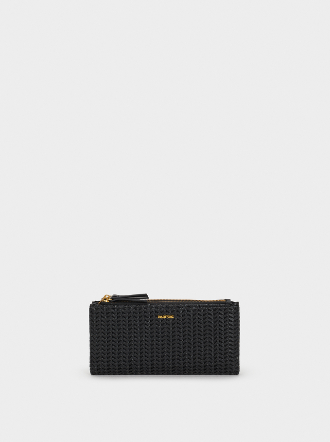 Large Textured Wallet, Black, hi-res