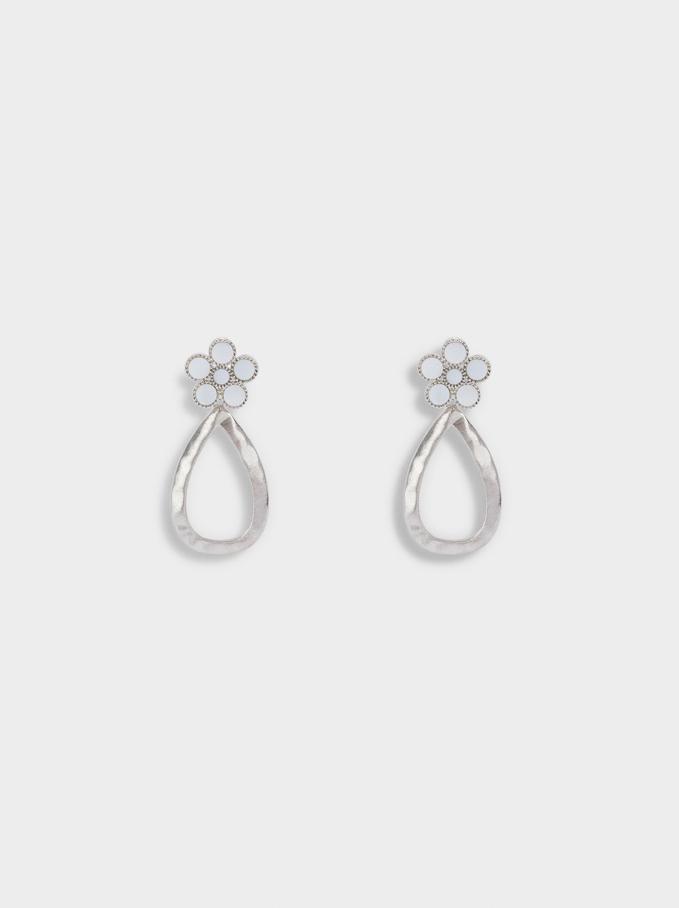 Flower Earrings, Silver, hi-res