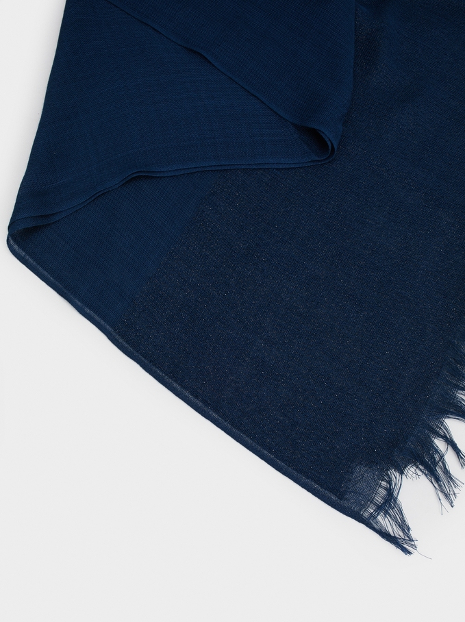 Metallic Wedding Scarf, Navy, hi-res
