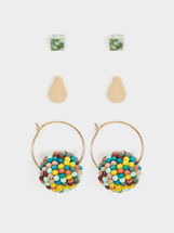 Cherry Blossom Set Of Hoop Earrings, Multicolor, hi-res