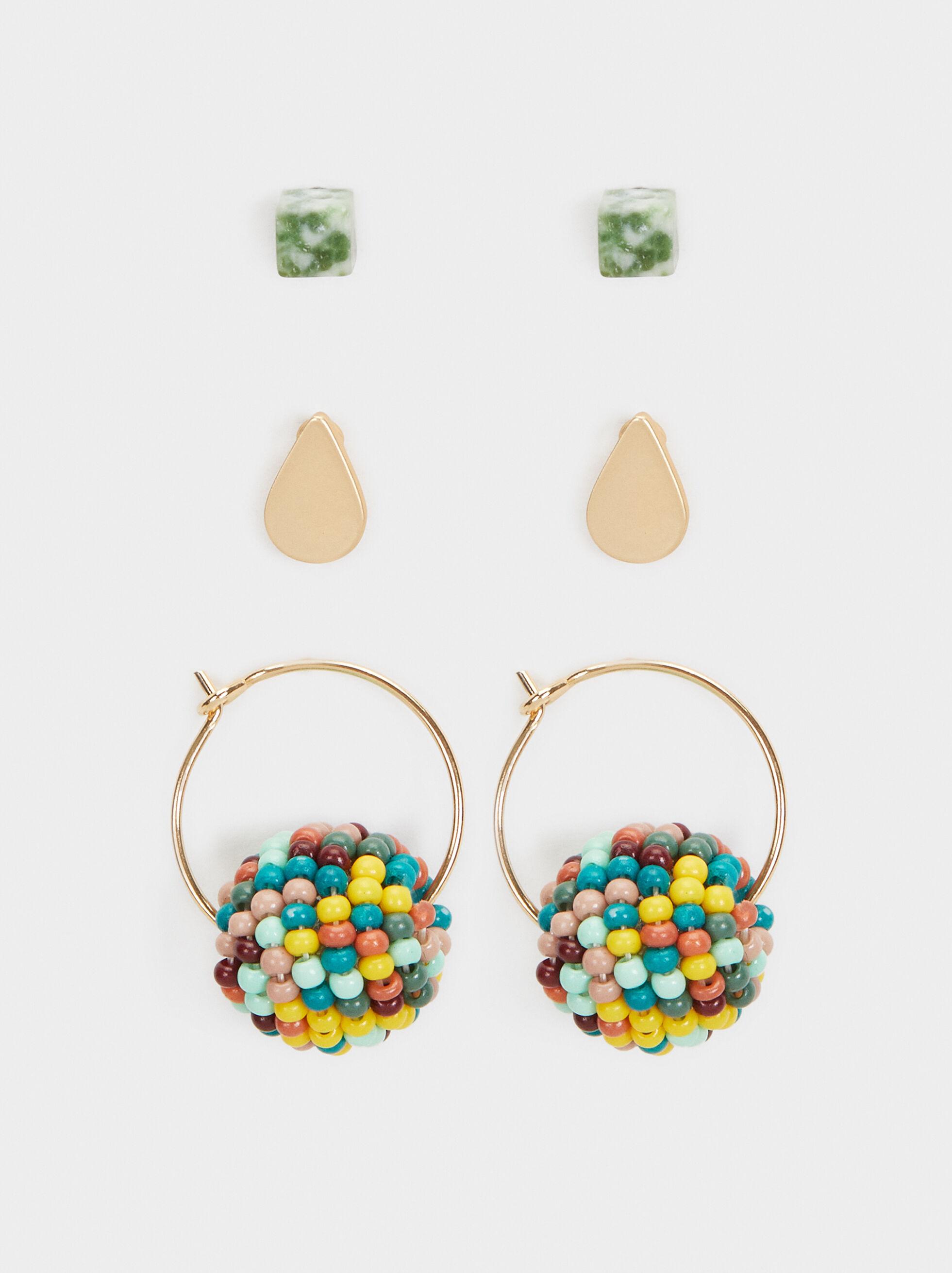 Cherry Blossom Set Of Hoop Earrings, Multicolor, hi-res