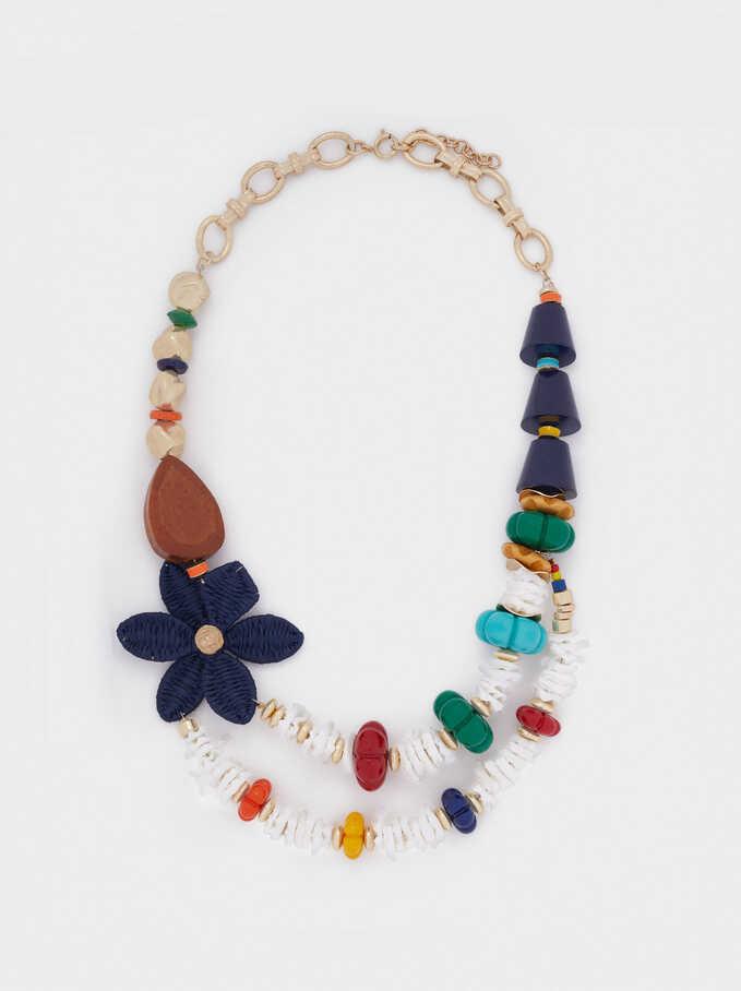 Collar Corto Combinado Con Flor, Dorado, hi-res
