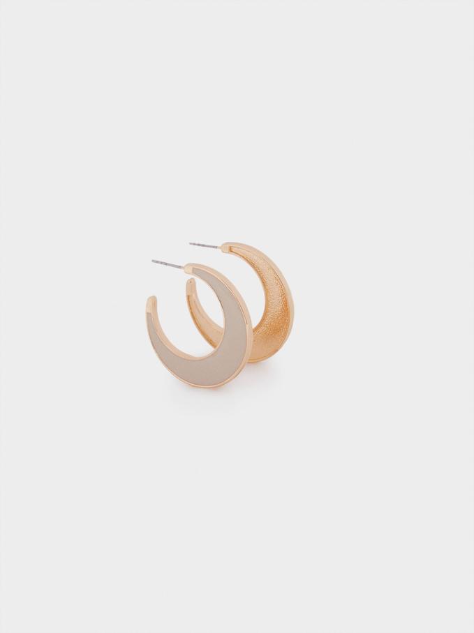 Mixed Hoop Earrings, Beige, hi-res