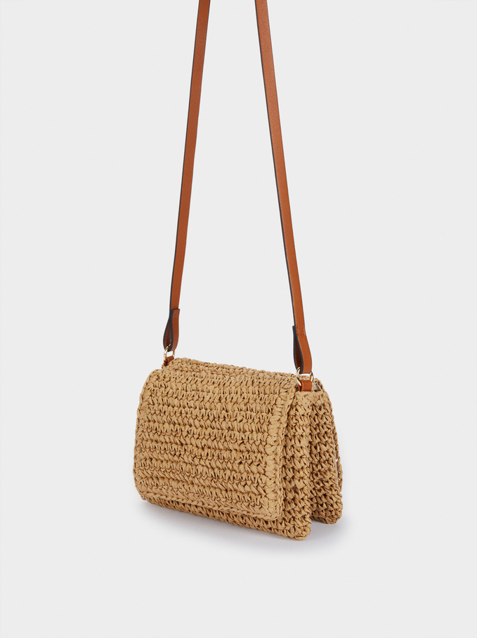 Raffia Textured Crossbody Bag, Beige, hi-res