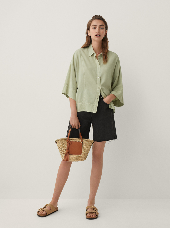 Lyocell Oversized Shirt, Green, hi-res