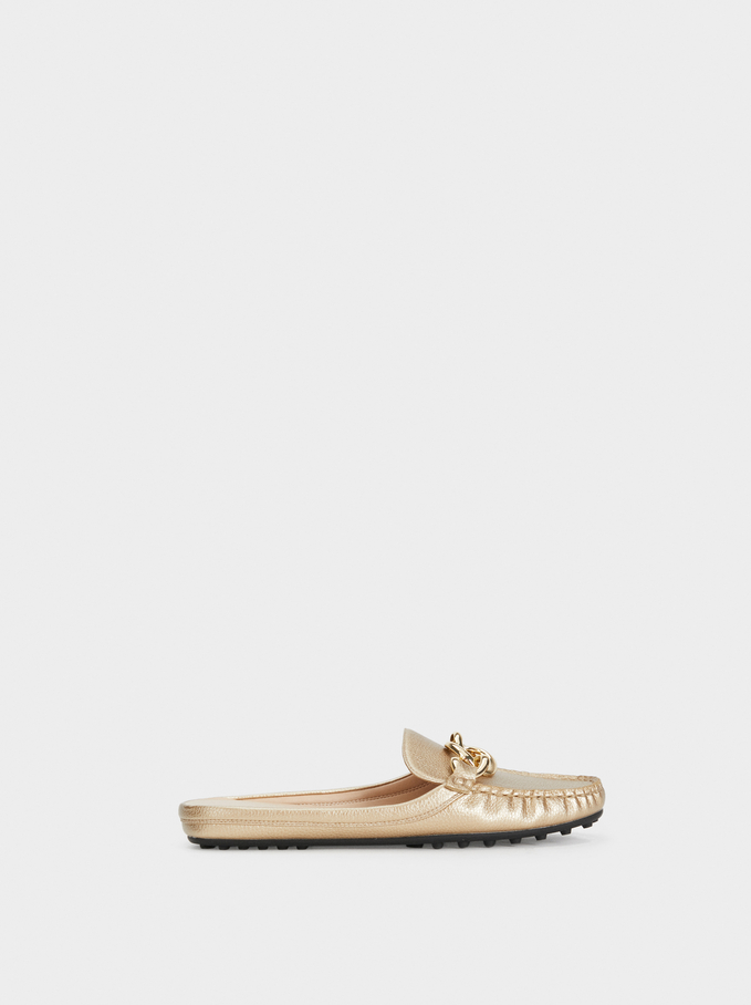 Metallic Open-Back Moccasins Online Exclusive, Golden, hi-res