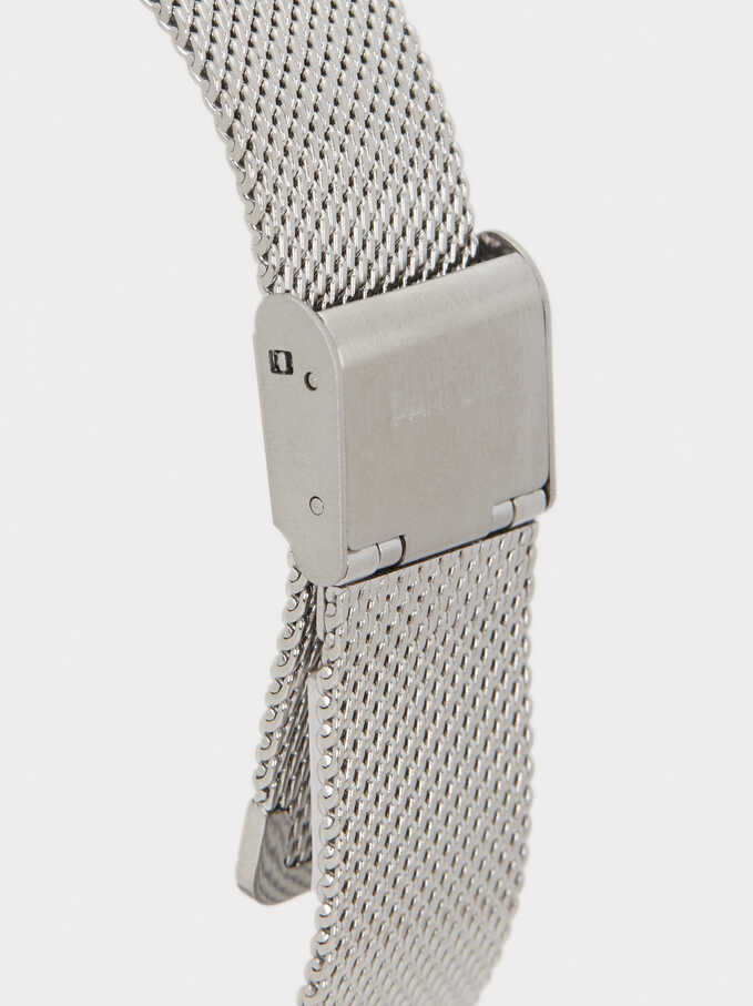 Watch With Metallic Mesh Strap, Silver, hi-res