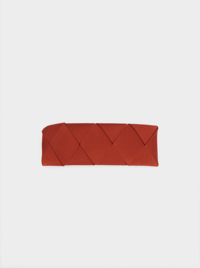 Barrette Tissu Tressé, Brique, hi-res