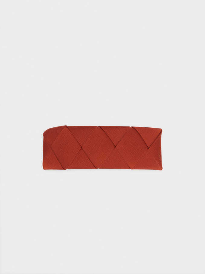 Braided Furry Fabric Hairclip, Brick Red, hi-res