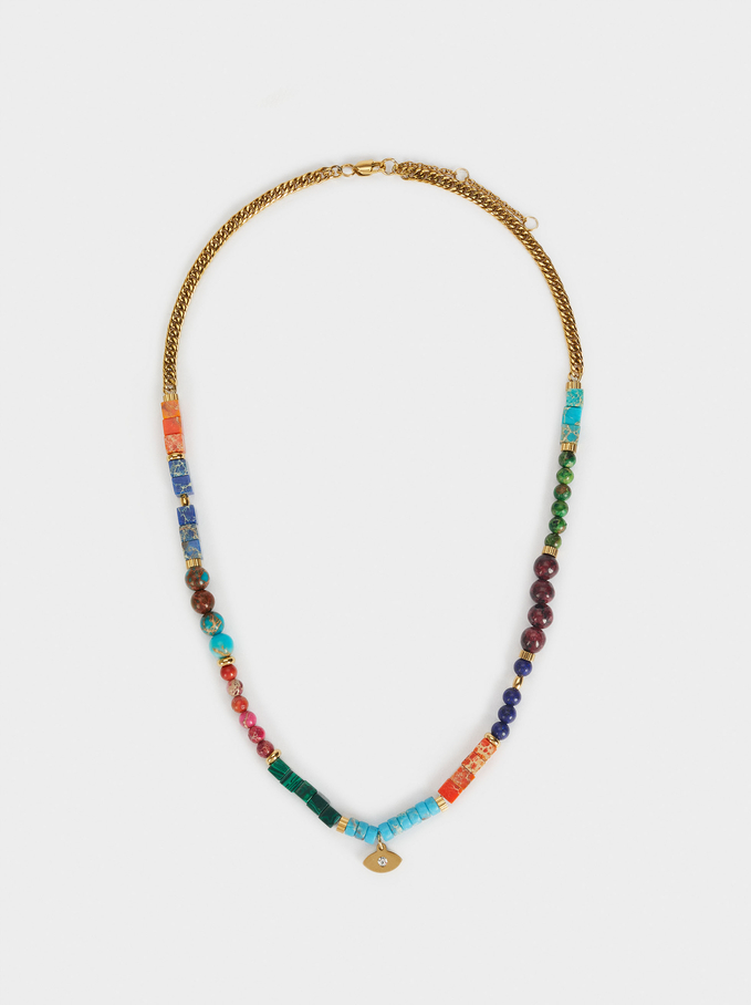 Short Beaded Stainless Steel Necklace, Multicolor, hi-res