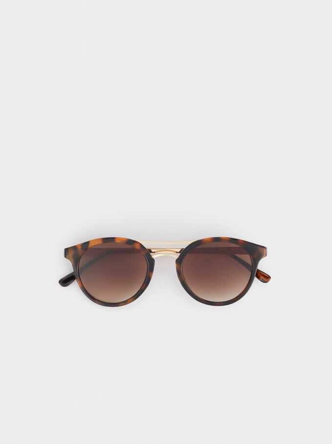 Gafas De Sol Redondas Tortoise, Marrón, hi-res