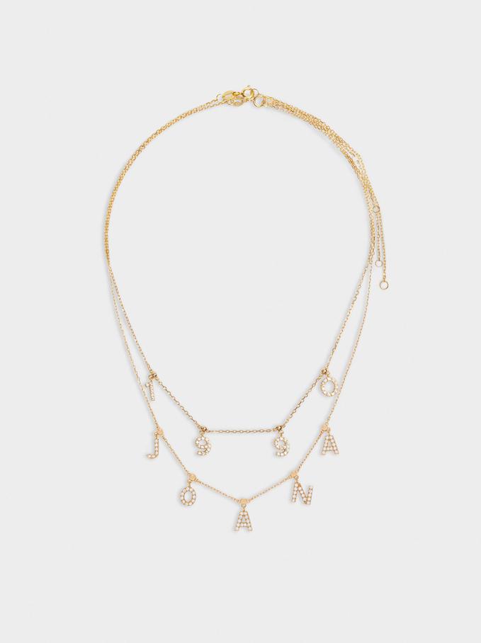 Short 925 Silver Customizable Golden Necklace, Golden, hi-res