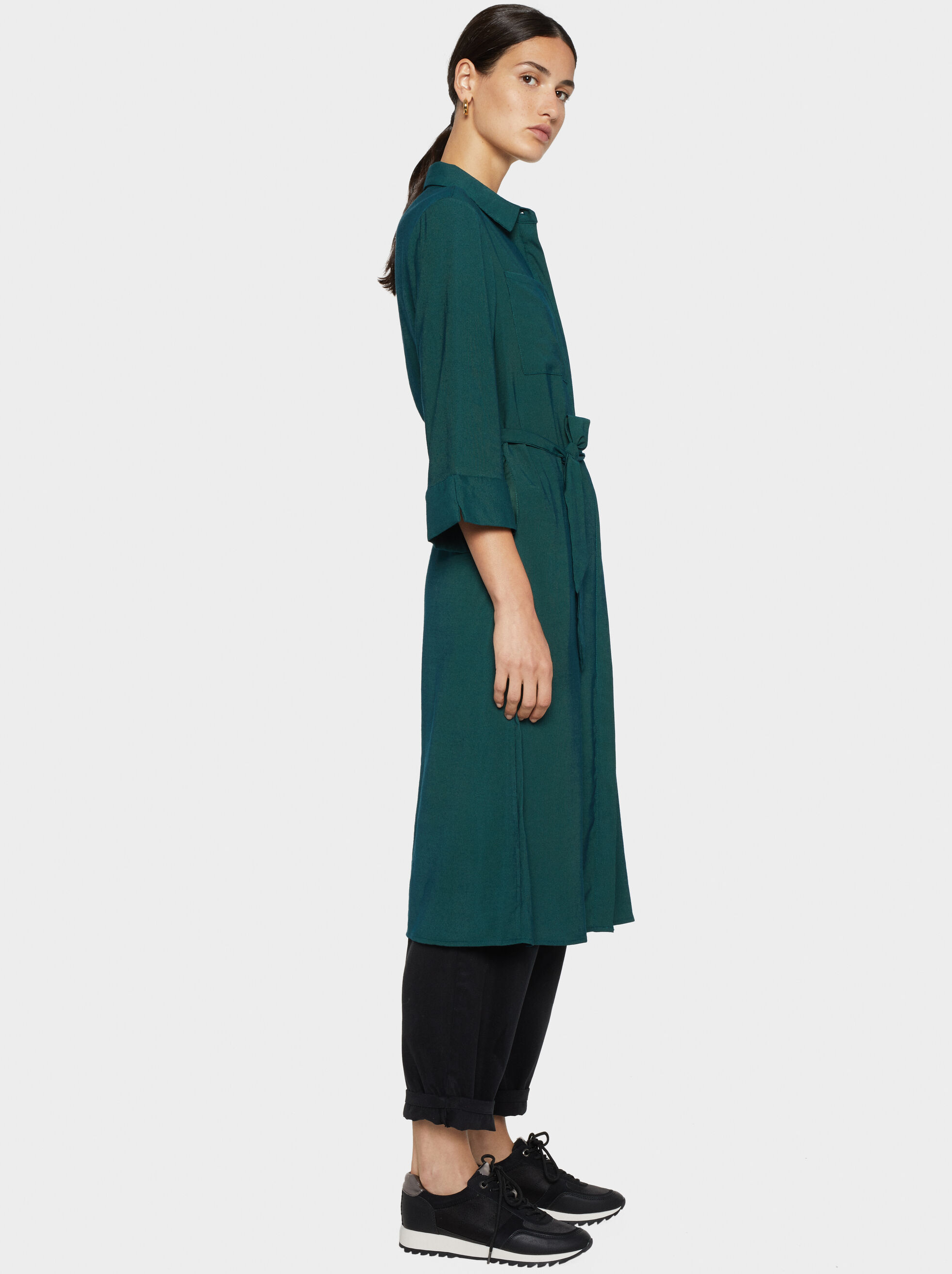 Shirt-Dress With Belt, , hi-res