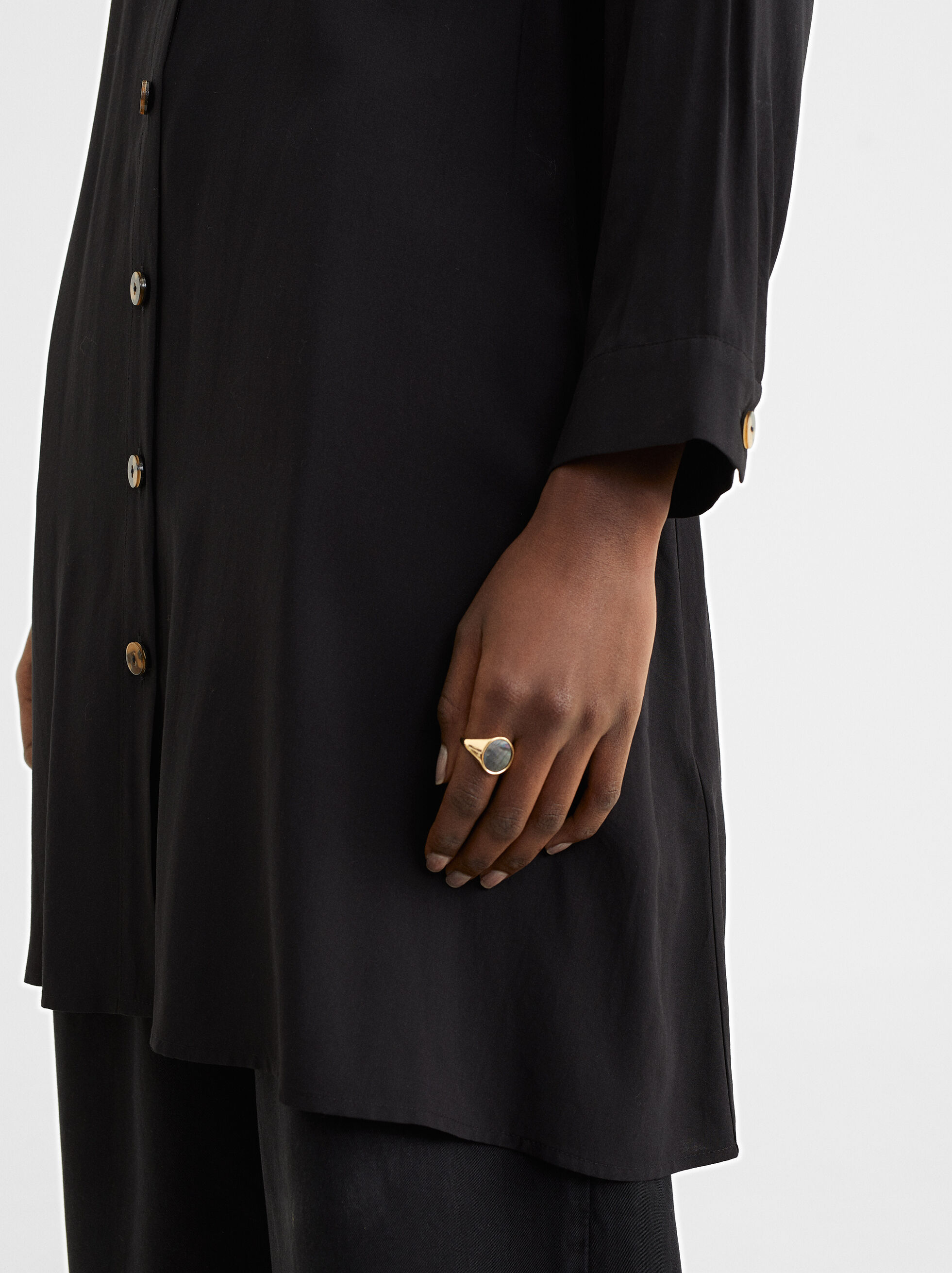 Shirt Dress With Pocket, Black, hi-res