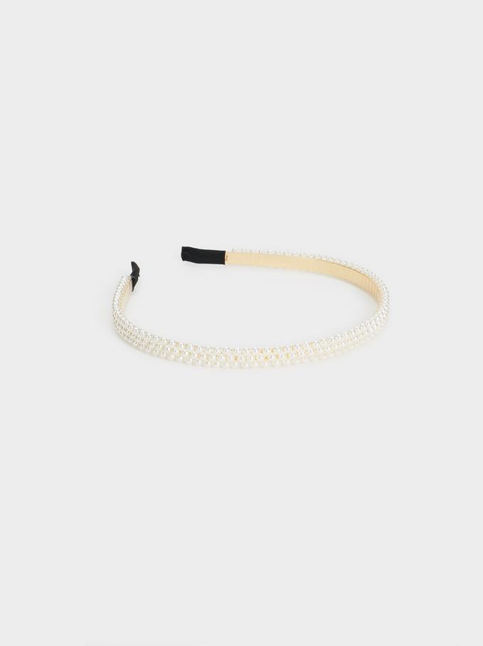 Pearl Bead Headband, White, hi-res
