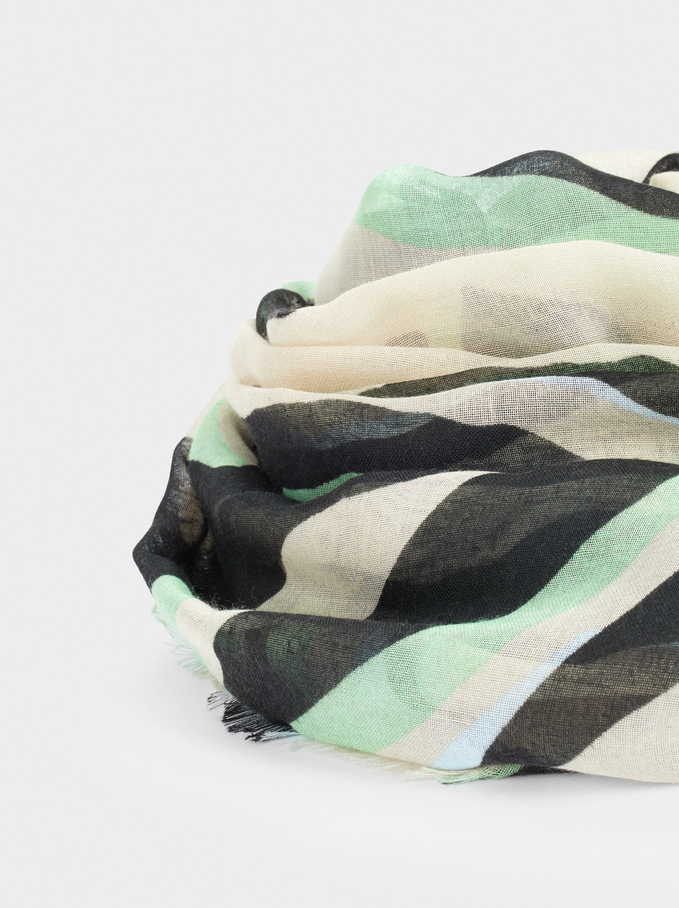 Printed Scarf Made From Recycled Materials, Beige, hi-res