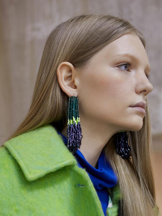 Boucles D'Oreilles Longues Perles Fantaisie, Multicolore, hi-res